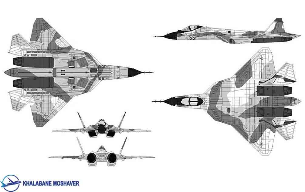 شماتیک کلی جنگنده سوخو 57